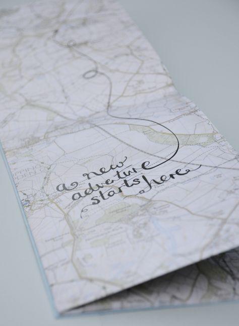 Map wedding invitation hand lettering