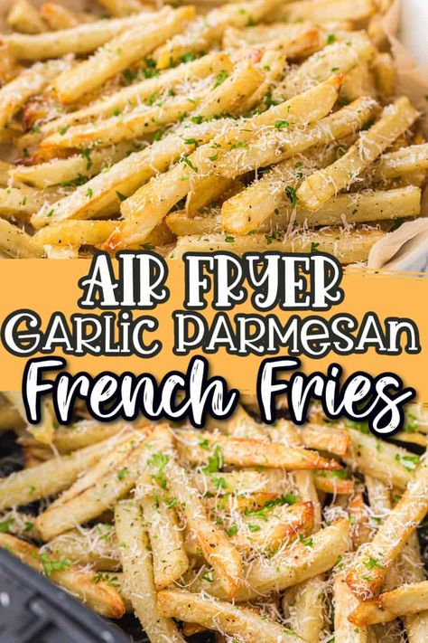 These are the best Air Fryer French Fries ever! They are super crispy and crunchy homemade fries and use very little oil, which makes them way healthier than traditional fries! They are loaded with garlic and parmesan and ready in under 30 minutes.