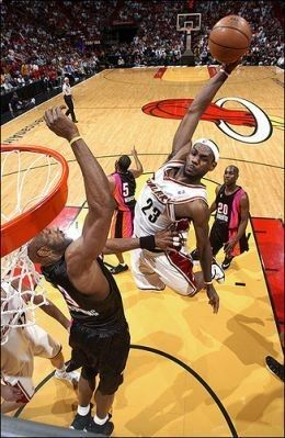 Lebron James dunking through the stages of his basketball career.