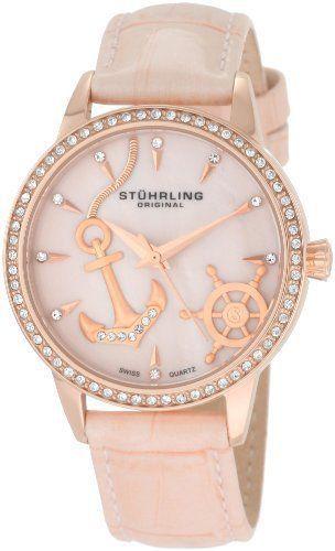 Stuhrling Original Women's Vogue Audrey Verona Del Mar Swiss Quartz Mother-Of-Pearl Swarovski Crystal Pink Watch Stuhrling Original