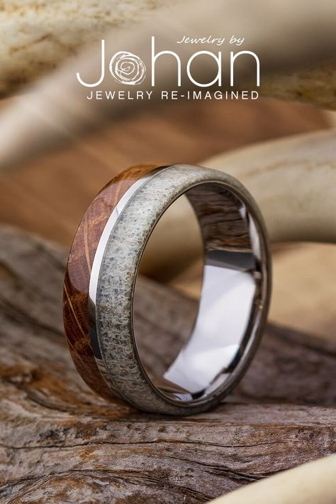 Whiskey barrel oak and naturally-shed deer antler decorate the edges of this titanium Hunting Wedding Rings, Wedding Ring For Him, Wedding Bands, Deer Antler Ring, Deer Antler Wedding Band, Deer Antlers, Barrel Rings, Wooden Rings, Bridal Jewelry Sets