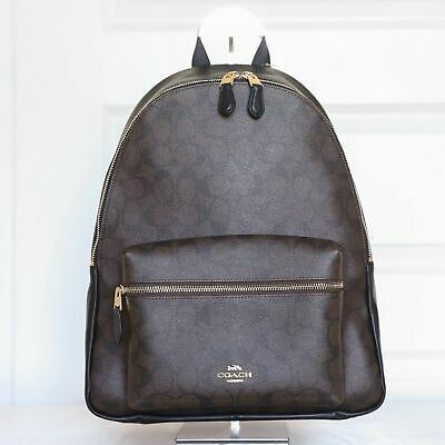NWT Coach F58314 Charlie Backpack Double Shoulder Bag in Brown Black