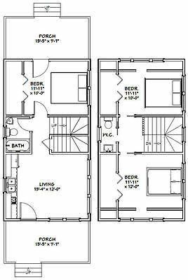 16x30 House 3 Bedroom Pdf Floor Plan 878 Sq Ft Model 8i Ebay 20x30 House Plans Tiny House Floor Plans Small Floor Plans