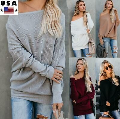 Womens Ladies Baggy Oversized Off Shoulder Chunky Knit Tunic Mini Jumper Dress
