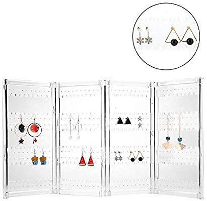 Plastic Earrings Display Stand Foldable 4 Panel Jewelry Holder Ear Studs Storage Rack Organizer Transp Earring Display Stands Earring Display Plastic Earrings