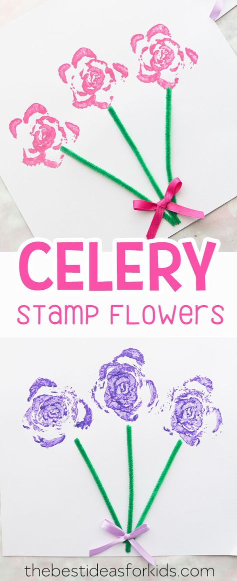 These celery stamped flower bouquets are perfect to make for Mother's Day! An easy and fun way to make roses kids will love this art activity. Celery print roses, celery print flowers, celery printing, celery stamping, flower crafts for kids, flower crafts preschool, mothers day crafts for kids, mothers day crafts for preschool. #bestideasforkids #crafts #kidscrafts #mothersday #flowers #flowercraft via @bestideaskids