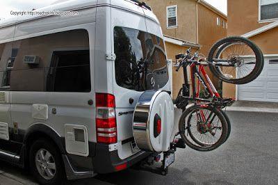 Roadtrek Modifications Mods Upgrades And Gadgets Diy Hitch Mounted Vertical Bike Rack Cargo Carrier That Does Vertical Bike Best Bike Rack Car Bike Rack