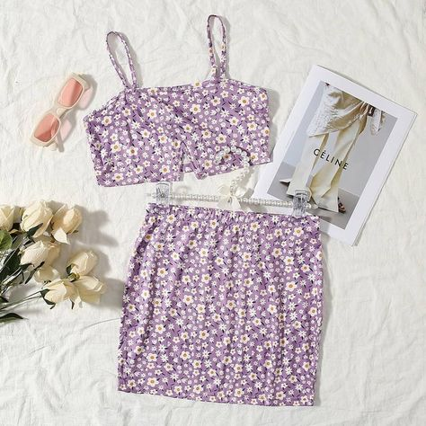 SHEIN Split Hem Ditsy Floral Cami Top  Skirt Set