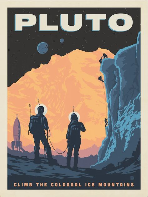 Pluto: Ice Mountain Climbing by the Anderson Design Group Illustration Design Graphique, Space Illustration, Arte Sci Fi, Sci Fi Art, Space Tourism, Space Travel, Poster S, Poster Prints, Tourism Poster