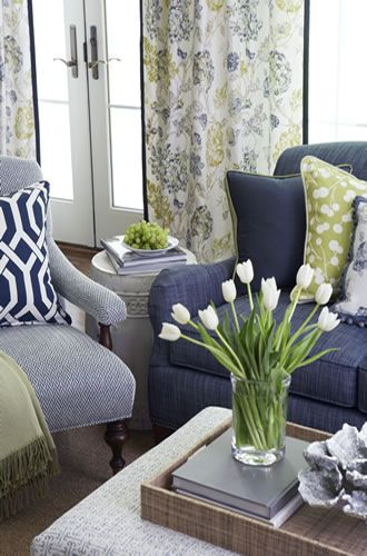 Navy, Gray and Yellow Living Room with navy sofa - Calico Corners