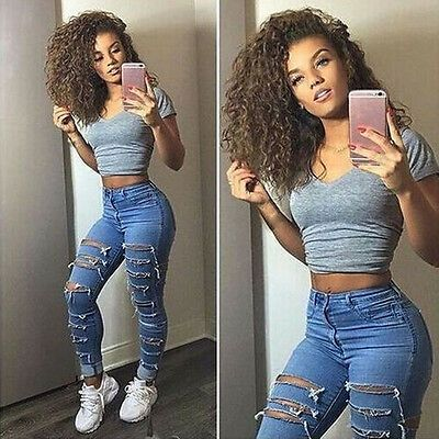 Women High Waist Jeans Ladies Ripped Pants Women Looks Slim Skinny Fashion Hole Jeans Stretch Pencil Denim Pants Women Clothes