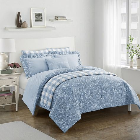 Worthington 7 Piece Reversible Full Queen Comforter Set In Light