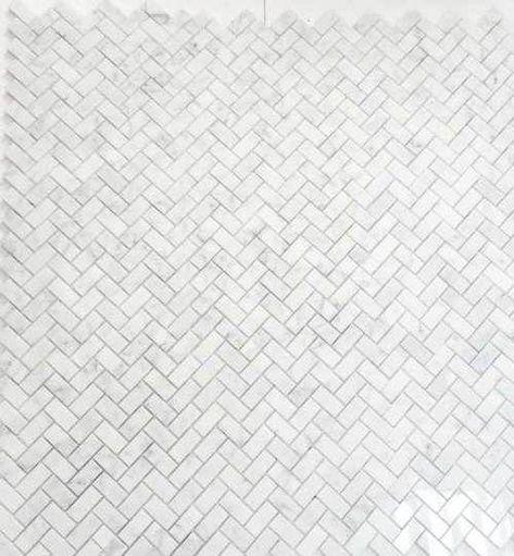 Carrara Marble Italian White Bianco Carrera Herringbone Mosaic Tile Polished #Bathroomtile