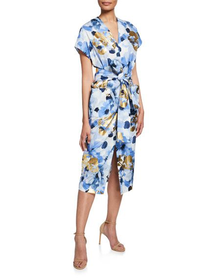 Belted At Neiman By Rose Neck With Floral Lela V Pockets Dress EDHYW29I