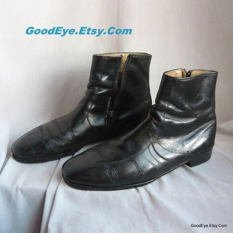782a79aa0 Mens size 12 C Vintage Black Leather Ankle Boots / Eur 46 UK 11 .5 / Side  Zipper BEATLES Gents Dress