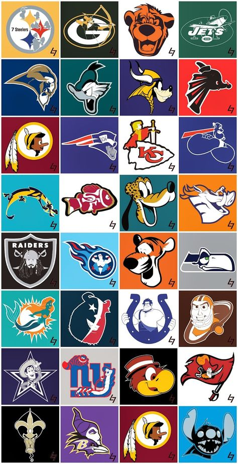 Check out these Team Mashups! The Ultimate Sports Fan can show thei… Check out these Team Mashups! The Ultimate Sports Fan Continue Reading Nfl Logo, Sports Logo, Nfl Team Logos, Sports Art, Apple Logo, Tableau Logo, Logo Club, Funny Nfl, Funny Football