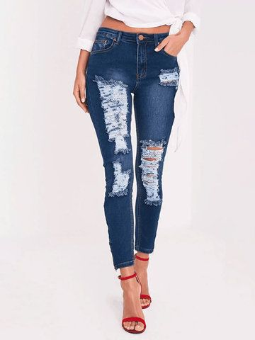 6d3762e42f1 Pure Color Hollow High Waist Casual Ripped Jeans is a trendy, Newchic  provides wide range of best cheap Denim & Jeans for you Mobile.