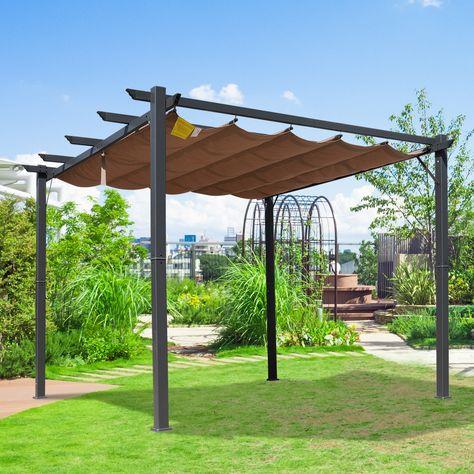 Outsunny Pérgola De Aluminio Gazebo Cenador 3x3m Para Jardín