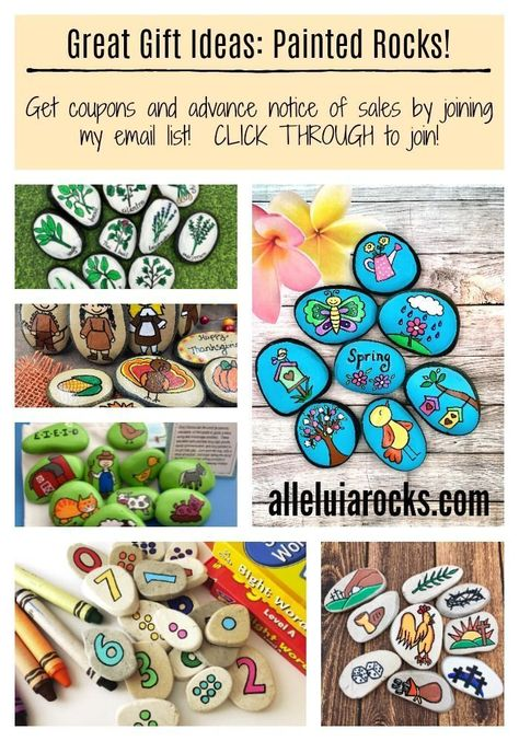 Need ideas for Christmas gifts? I have amazing painted rocks that make awesome gifts for children, teachers, parents, therapists, coworkers, and more! CLICK THROUGH to get a great coupon and join my email list! #paintedrocks #Christmasgiftideas #paintedst