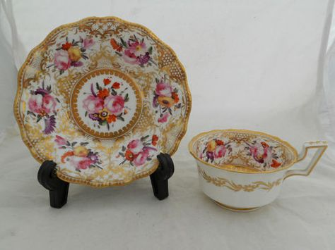 Antique Coalport China TEA CUP Saucer Hand Painted Flowers Profuse Gold Gilt | eBay