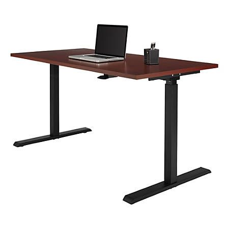 Realspace Magellan 60 W Pneumatic Height Adjustable Standing Desk Classic Cherry Item 102866 Adjustable Height Desk Adjustable Height Standing Desk Adjustable Desk