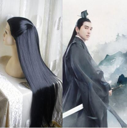 80cm Ancient Chinese Style Hair Ancient Chinese Men Long Black Warrior Cosplay Hair Long Straight Hair For Men Swordsman Cosplay Chinese Hairstyle Cosplay Hair Hair Styles