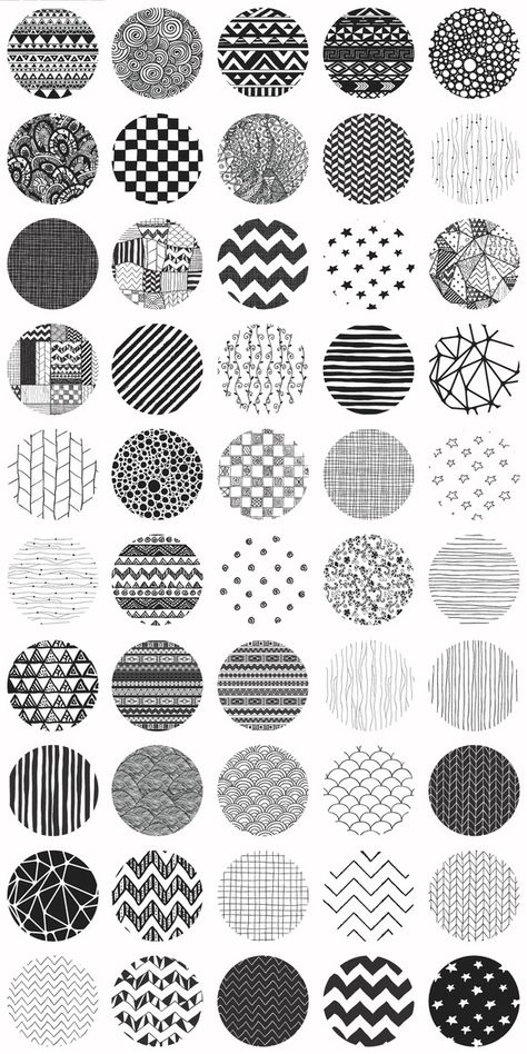 Big Set of Fifty Cute Black Hand-Drawn Doodle Seamless Background Patterns. What you get: - Pattern Swatches for Photoshop (PAT) and Illustrator (AI).