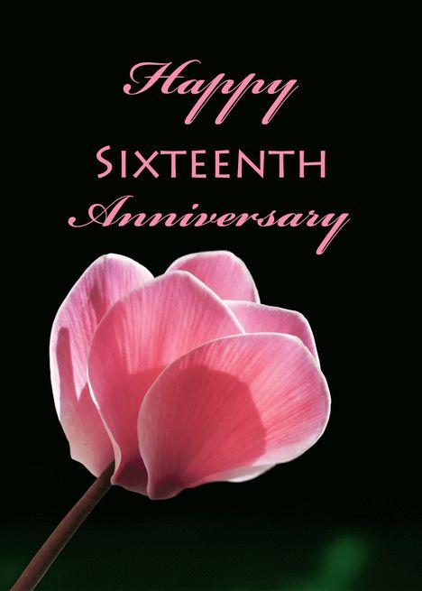 16th Wedding Anniversary Pink Cyclamen Card Ad Ad Anniversary Weddin 21st Wedding Anniversary Wedding Anniversary Greeting Cards Happy 3rd Anniversary