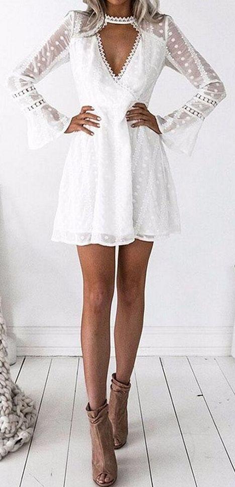 Short White Lace Boho Dress