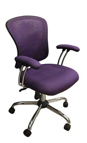 Mesh Purple Office Chair With Metal Frame