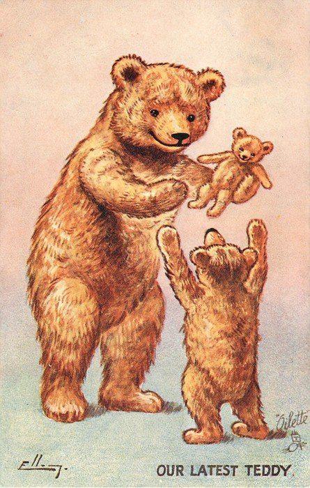 Старые открытки с мишками, картинках днем