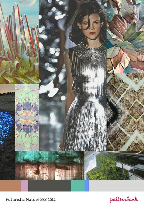 Trend Prediction – Spring/Summer 2014 – Futuristic Nature---Crystals And Gems / Metallic Leathers / Photographic Applied / Embossed Surfaces / Mirrored And Kaleidoscopic / Photomontage Rock / Mineral Colours