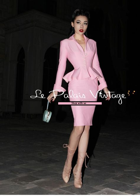 Vintage retro pin up paste pink pencil skirt 2 piece set suit [Elastic] Moderate Elasticity Click Additional Info+ for Sizing Chart