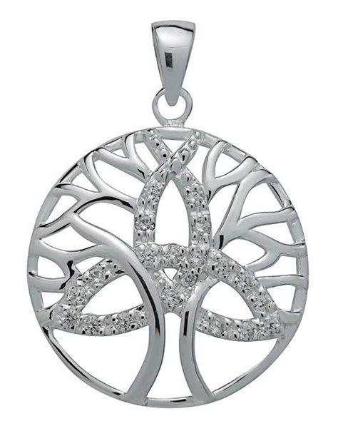 Brilliant Silver Trinity Tree of Life Pendant for Unity