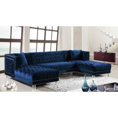 Alcott Hill Charlemont Reversible Sectional With Ottoman Reviews Wayfair Sectional Sofa Blue Sectional Sectional Sofas Living Room