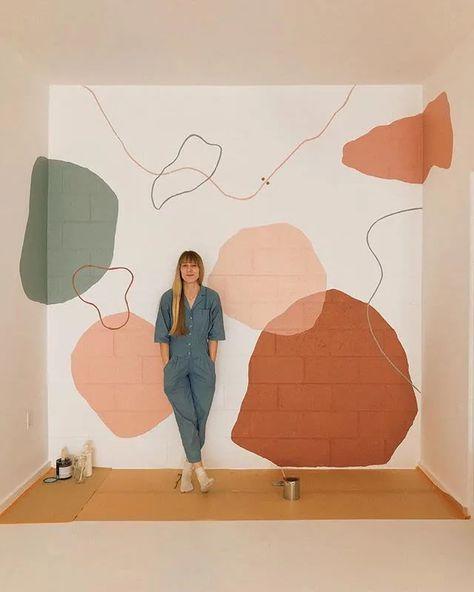 Abstract Interior Mural by Tiffany Lusteg seen at Christina Sfez, San Diego Art Mural, Installation Art, Cheap Home Decor, Backdrops, Room Decor, Wall Decor, Artsy, Illustration, Artwork