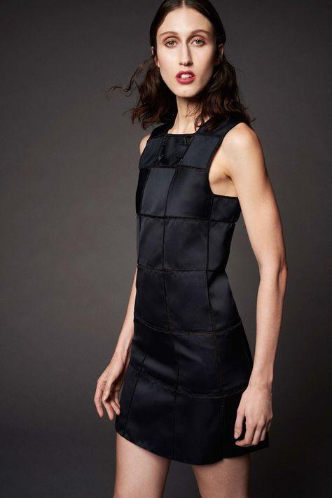 Chic Black on Black Square Patch Design Sleeveless Short Dress by Zac Posen, Look #4