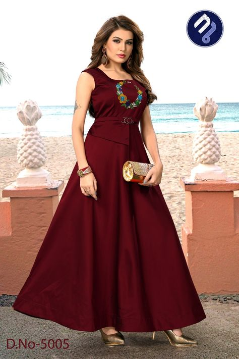 Maroon Colour Embroidered Silk Material Gown With Images Dress