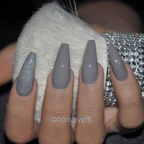 Nails Design Grey Coffin 27 Ideas For 2019 Grey Acrylic Nails Almond Acrylic Nails Matte Nails Design
