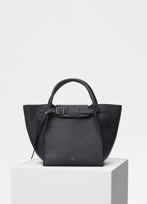 Celine Anthracite Supple Grained Calfskin Small Big Bag with Long Strap