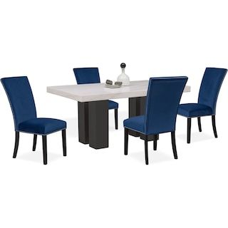 Artemis Marble Dining Table And 6 Upholstered Dining Chairs Upholstered Dining Chairs Dining Table Marble Marble Dining