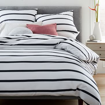 Organic Washed Cotton Percale Bold Stripe Duvet Cover Shams Striped Duvet Covers Striped Duvet Black And White Striped Bedding