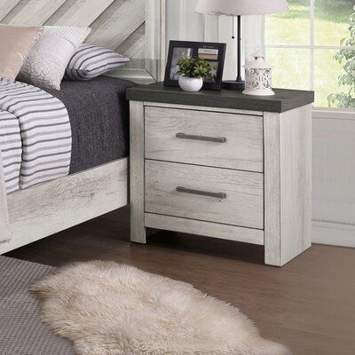 Gracie Oaks Pinar Usb Charging 2 Drawer Nightstand In 2020