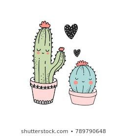 Cute cactus illustration. Pefect for valentine s day