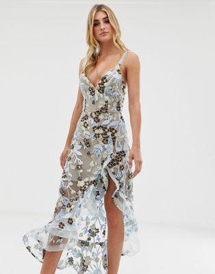 Bronx Banco Sawanna Floral Embroidered Dress Women Dress Sale Maxi Dress Prom Midi Ruffle Dress