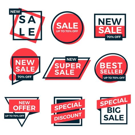 Sale Labels Tag Set Collection Simple Flat Design PNG and Vector