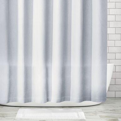 Mdesign X Long Waffle Weave Fabric Shower Curtain Linen 72 X 96