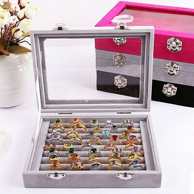 Details About Velvet Portable Jewelry Organizer Display Earring Ring Storage Tray Box Case Mx Jewelry Display Organizer Jewelry Display Box Jewelry Tray Display