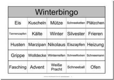 Themenbingo Winter Bingo Spiele Fur Senioren Bingo Vorlage