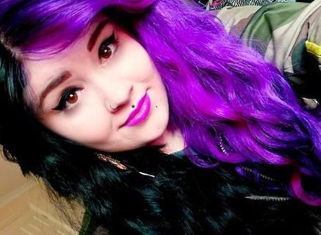 Half Purple And Half Black Hair In 2020 Hair Inspiration Color Two Toned Hair Split Dyed Hair
